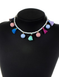 Fashion Multi-color Tassel&balls Decorated Simple Necklace