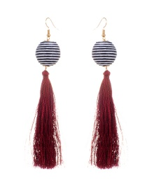Fashion Claret Red Tassel&balls Decorated Simple Earrings