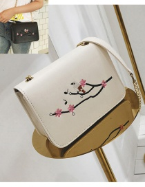Fashion White Embroidery Flower&bird Decorated Shoulder Bag