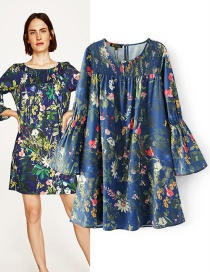 Trendy Multi-color Flower Pattern Decorated Long Sleeves Dress