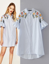 Trendy Blue Embroidery Flower Decorated Short Sleeves Dress