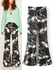 Trendy Multi-color Flower Pattern Decorated Long Pants