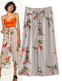 Fashion Multi-color Stripe&flower Decorated Ultra-wide-leg Trousers