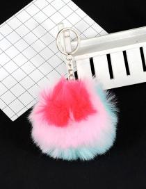 Fashion Blue+pink Ball Decorated Simple Pom Key Chian