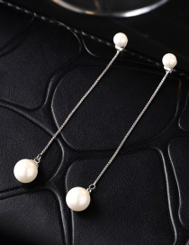 Fahsion Silver Color Pearl Decorataed Simple Earrings
