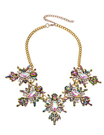 Fashion Multi-color Diamond Decorated Simple Necklace