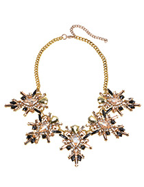 Fashion Champagne+black Diamond Decorated Simple Necklace