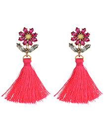 Fashion Plum Red Diamond&tassel Decorated Simple Earrings