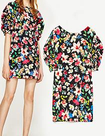 Fashion Black Flower Pattern Decorated Simple Dress