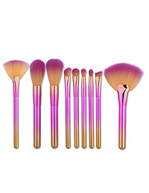 Fashion Pink+gold Color Sector Shape Decorated Simple Makeup Brush (8 Pcs)