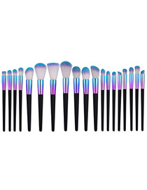 Fashion Black+blue Cone Shape Decorated Simple Makeup Brush (19 Pcs)
