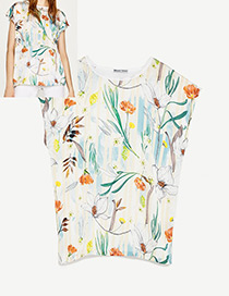 Fashion Multi-color Flower Pattern Decorated Simple Shirts