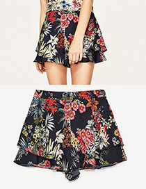 Fashion Navy Flower Pattern Decorated Simple Shorts