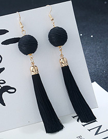 Bohemia Black Round Ball&tassel Decorated Simple Earrings