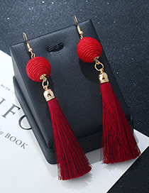 Bohemia Red Round Ball&tassel Decorated Simple Earrings