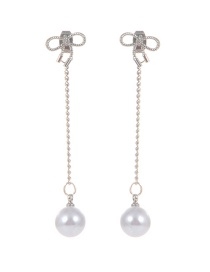 Fashion Silver Color Pearl Decorated Bowknot Shape Earrings