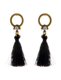 Fashion Black Circular Ring&tassel Decorated Simple Earrings