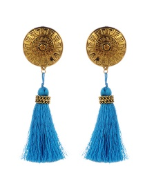 Fashion Blue Round Shape&tassel Decorated Simple Earrings