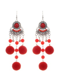 Fashion Red Fuzzy Balls Decorated Tassel Design Pom Earrings