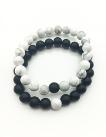 Fashion White+black Color Matching Decorated Simple Bracelet(2pcs)
