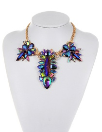 Fashion Purple Geometric Shape Diamond Decorated Simple Necklace