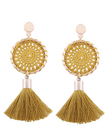 Fashion Yellow Tassel Decorated Pure Color Hand-woven Earrings