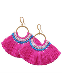 Fashion Plum Red Tassel Decorated Simple Hand-woven Earrings