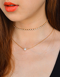 Fashion Gold Color Pearls&diamond Decorated Double Layer Choker