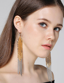 Fashion Gold Color Long Tassel Decorated Simple Earrings