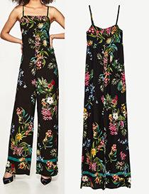 Fashion Black Flower Pattern Decorated Suspender Jumpsuit