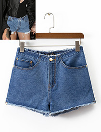 Fashion Blue Pure Color Decorated Simple Denim Shorts