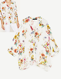 Fashion White Flower Decorated Long Sleeves Blouse