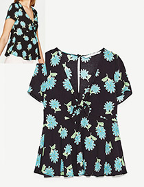 Fashion Black Flowers Decorated V Neckline Blouse