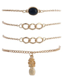 Trendy Gold Color Pineapple&diamond Decorated Simple Bracelet(4pcs)