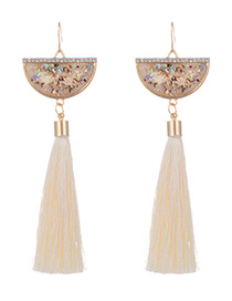 Fashion Beige Long Tassel Decorated Sector Shape Earrings