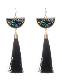Fashion Black Long Tassel Decorated Sector Shape Earrings