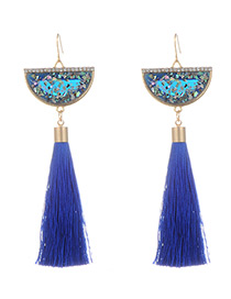 Fashion Sapphire Blue Long Tassel Decorated Sector Shape Earrings