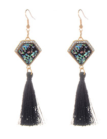 Fashion Black Long Tassel Decorated Geometric Shape Earrings
