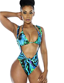 Sexy Green+blue Flower Pattern Decorated Color Matching Swimwear