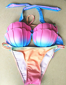 Sexy Multi-color Color Matching Decorated Shell Shape Bikini