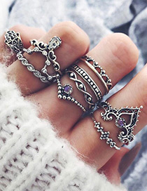Fashion Silver Color Crown&flower Shape Decorated Pure Color Ring(10pcs)