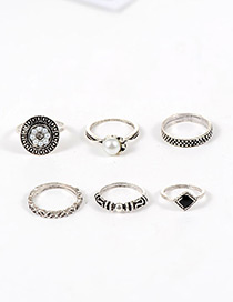 Fashion Silver Color Pearls&flower Decorated Simple Ring (6pcs)