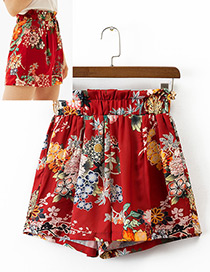Fashion Red Flower Pattern Decorated Simple Skirt