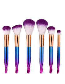 Trendy Blue+purple Color Matching Decorated Makeup Brush(6pcs)