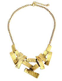 Fashion Gold Color Sqaure Shape Decorated Pure Color Necklace