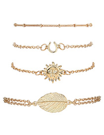 Fashion Gold Color Sun&leaf Shape Decorated Simple Bracelet(4pcs)