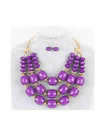 Vintage Purple Beads Decorated Pure Color Jewelry Sets