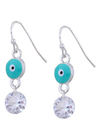 Personality Light Green Eyes &round Diamond Decorated Earrings