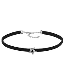 Vintage Silver Color Star Shape Decorated Choker