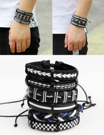 Vintage Black+white Hand-woven Decorated Bracelet (6pcs)